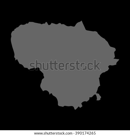 Vector map Lithuania. Gray on black background. EPS Illustration. - stock vector