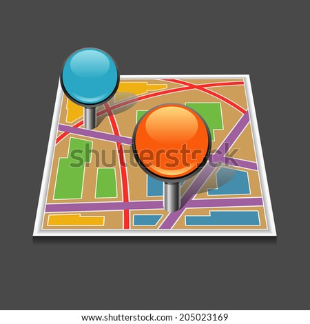 Vector map location icon - stock vector