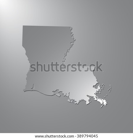 Vector map Louisiana. Gray background with gradient. Isolated vector Illustration. Gray on Gradient background. With shadow. EPS Illustration. - stock vector