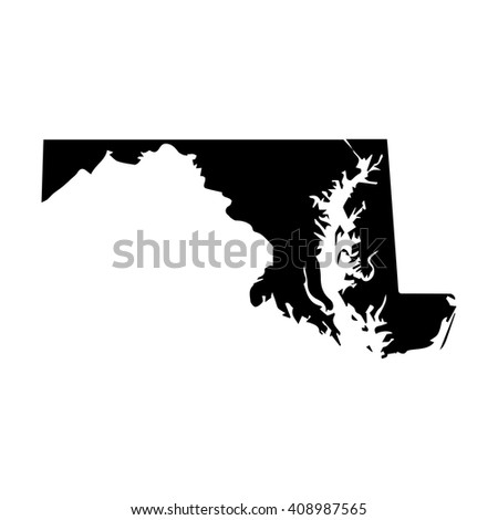 Vector map Maryland. Isolated vector Illustration. Black on White background. EPS 8 Illustration.