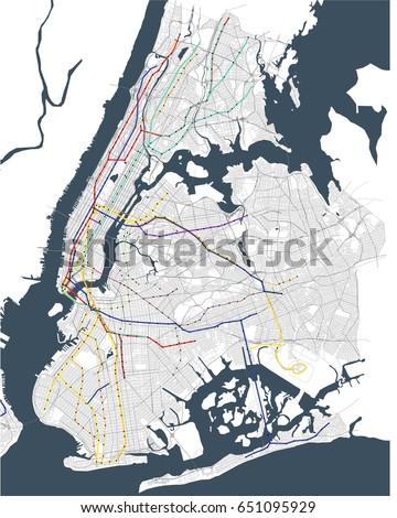 Vector Map New York City Ny Stock Vector Shutterstock - Ny usa map