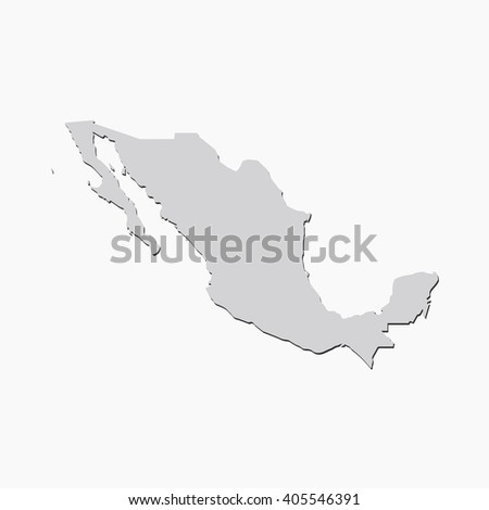Vector map Mexico. Gray Isolated vector Illustration. On Grey background. With shadow. EPS 10 Illustration. - stock vector