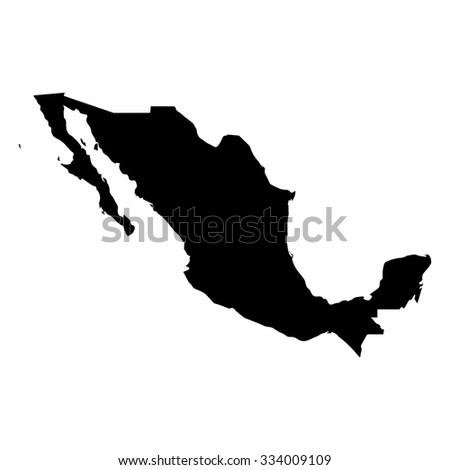 Vector map Mexico. Isolated vector Illustration. Black on White backgraund. EPS Illustration. - stock vector