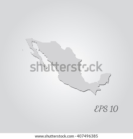 Vector map Mexico. Isolated vector Illustration. Gray on Gradient background. With shadow. EPS 10 Illustration with an inscription. - stock vector