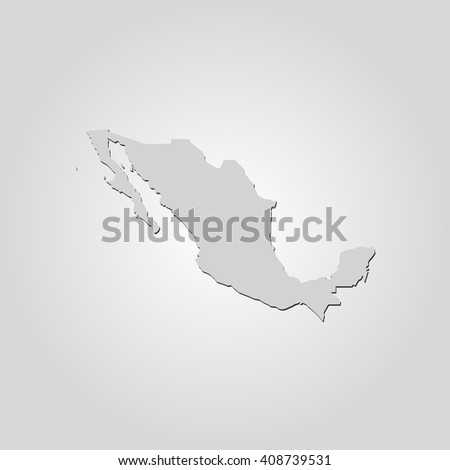 Vector map Mexico. Isolated vector Illustration. Gray on Gradient background. With shadow. EPS 10 Illustration. - stock vector