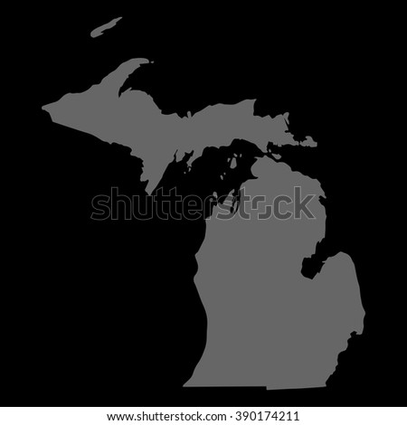 Vector map Michigan. Gray on black background. EPS Illustration. - stock vector