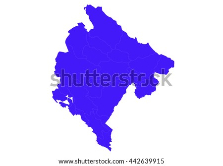Vector map-montenegro country on white background., blue color. - stock vector