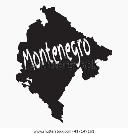 Vector map Montenegro. Gray Isolated vector Illustration. On Grey background. Typography design. EPS 8 Illustration. - stock vector