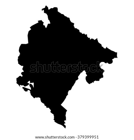 Vector map Montenegro. Isolated vector Illustration. Black on White background. EPS Illustration. - stock vector