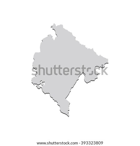 Vector map Montenegro. Isolated vector Illustration. Gray on White background. With shadow. EPS 10 Illustration. - stock vector