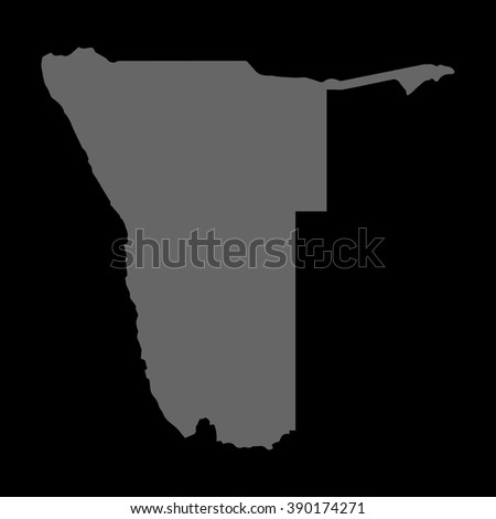 Vector map Namibia. Gray on black background. EPS Illustration. - stock vector