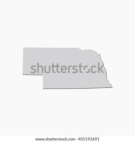 Vector map Nebraska. Gray Isolated vector Illustration. On Grey background. With shadow. EPS 10 Illustration. - stock vector