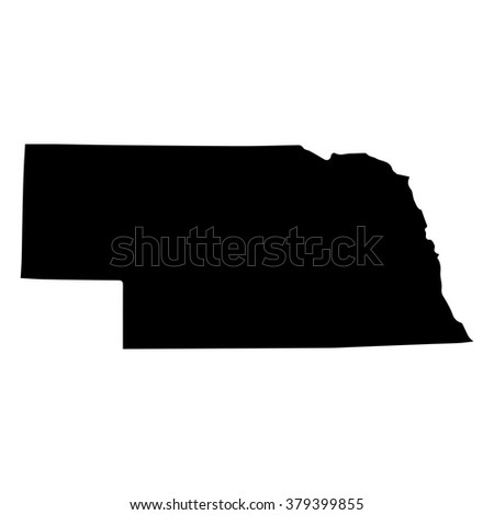 Vector map Nebraska. Isolated vector Illustration. Black on White background. EPS Illustration. - stock vector