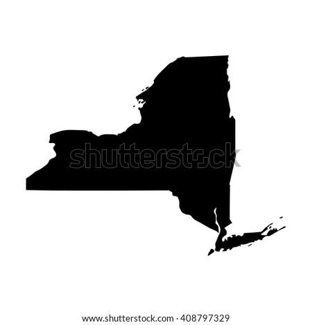 Vector map New York. Isolated vector Illustration. Black on White background. EPS 8 Illustration. - stock vector