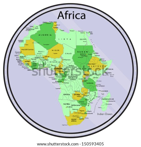 Vector map of Africa on the coin. All elements are editable. Made 2013 p. Map generated this from the open source. - stock vector