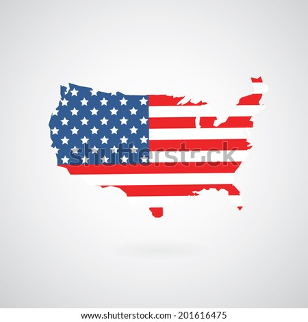 vector map of american flag  - stock vector