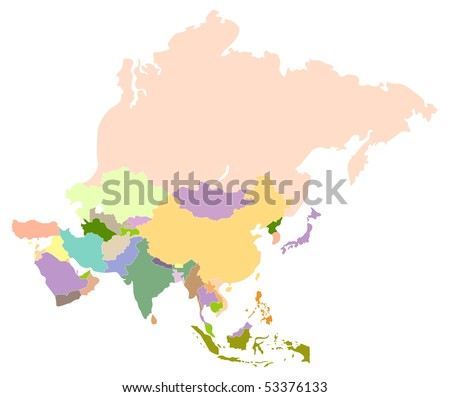 Vector map of asia, each country is the individual isolated object. - stock vector