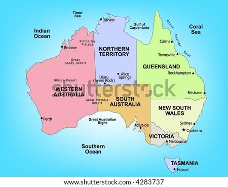 Vector map of Australia - stock vector