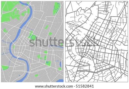Vector map of Bangkok - stock vector