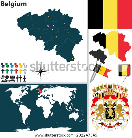 Vector map of Belgium with regions, coat of arms and location on world map - stock vector