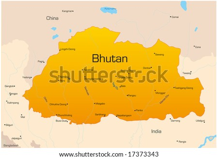 Vector Map Bhutan Country Colored By Stock Vector - Map of bhutan