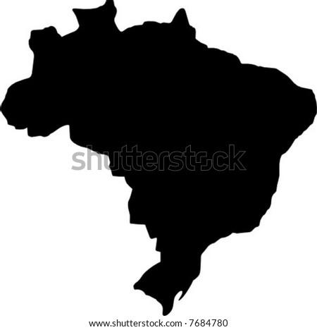 vector map of brazil - stock vector