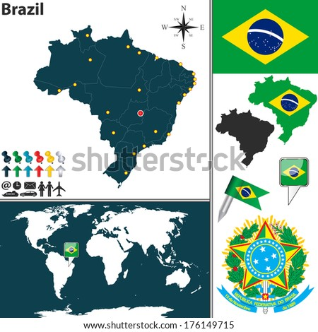 Vector map of Brazil with regions, coat of arms and location on world map - stock vector