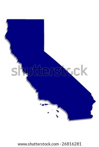vector map of califonia - stock vector