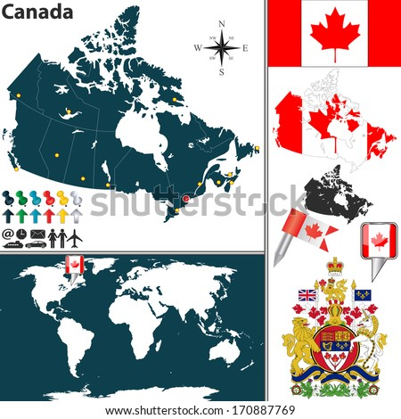 Vector map of Canada with regions, coat of arms and location on world map - stock vector