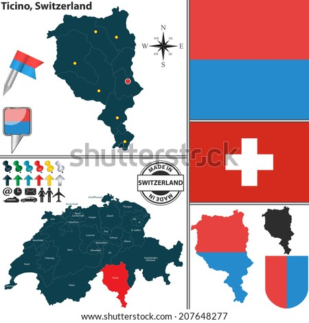Vector Map Canton Ticino Coat Arms Stock Vector 207648277 Shutterstock