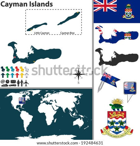 Vector map of Cayman Islands with regions, coat of arms and location on world map - stock vector