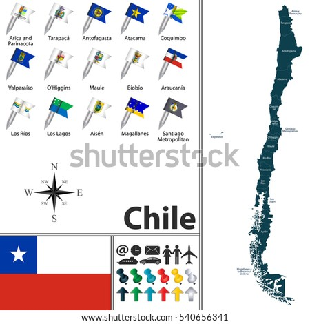Vector Map Chile Regions Flags Stock Vector Shutterstock - Chile regions map