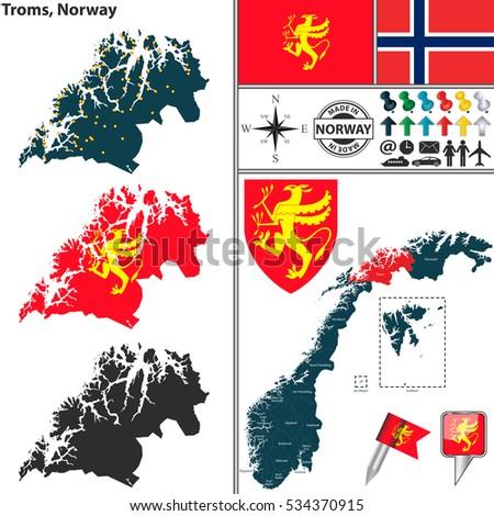 Troms County Stockafbeeldingen Rechtenvrije Afbeeldingen En - Norway komune map