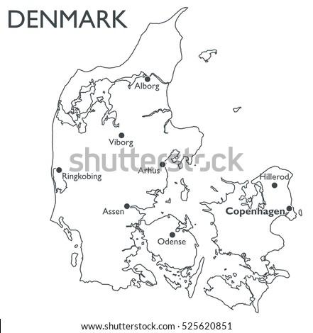 Vector Map Denmark Monochrome Contour Map Stock Vector HD Royalty