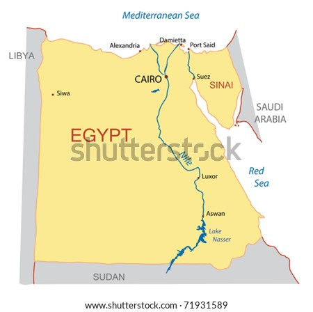 vector map of Egypt - stock vector