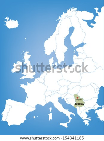 Vector Map of Europe Highlighting the Country of Serbia