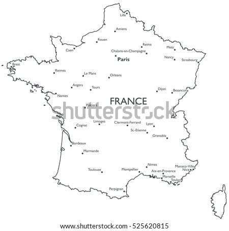 France Map Stock Images RoyaltyFree Images Vectors Shutterstock - Paris map outline