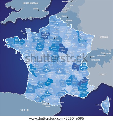 Vector Map Of France.Source for map is a site University of Texas Libraries with educational resources free for use. - stock vector