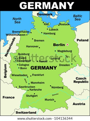 Vector Map Germany Stock Vector HD Royalty Free 104136344