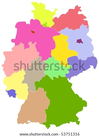 Vector map of Germany, each state is the individual isolated object.
