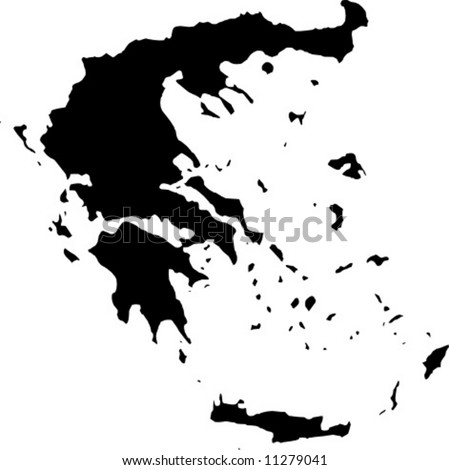vector map of greece - stock vector