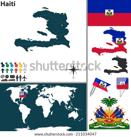 Vector map haiti regions coat arms stock vector 211034047 shutterstock vector map of haiti with regions coat of arms and location on world map gumiabroncs