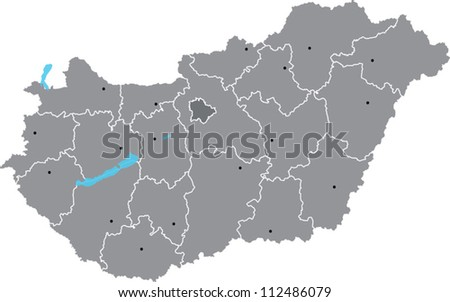 Vector map of Hungary with counties on separate named layers - stock vector