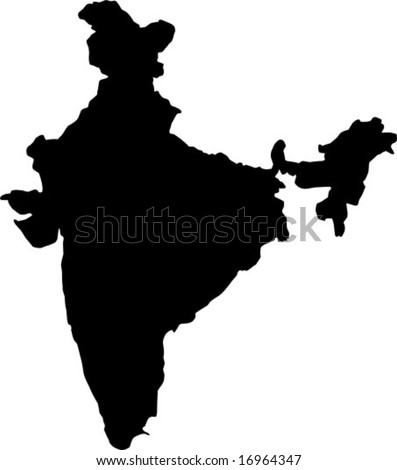 vector map of india - stock vector