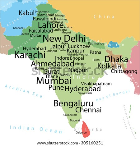 Vector map india pakistan largest cities vector de stock305160251 vector map of india and pakistan with largest cities carefully scaled text by city population gumiabroncs Image collections