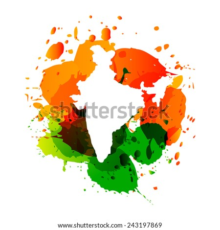 vector map of India in three colors orange and green ink splashes - stock vector