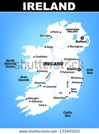 Vector Map of Ireland with Cities - stock vector
