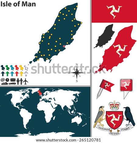 Vector map of Isle of Man with coat of arms and location on world map