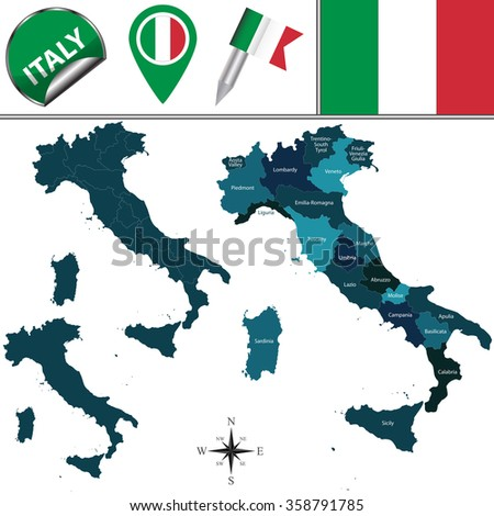 Vector map of Italy with named regions and travel icons