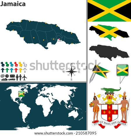 Vector map of Jamaica with regions, coat of arms and location on world map - stock vector